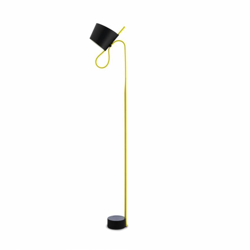 Lampadaire ROPE TRICK jaune LED / Abat-jour orientable - HAY