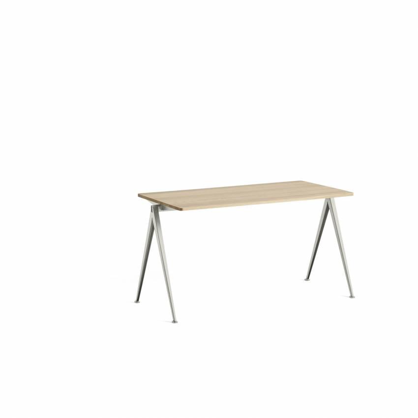 Table-bureau PYRAMID 01 / Chêne clair laqué mat - Piètement beige / 3 dimensions de plateau