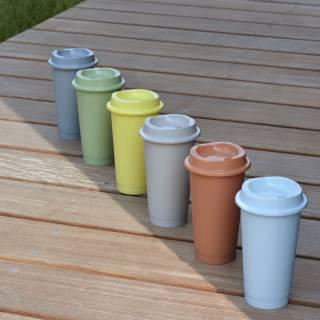 3 tasses à café PAQUET Coffee Cup / Bleu, Vert et Taupe - HAY