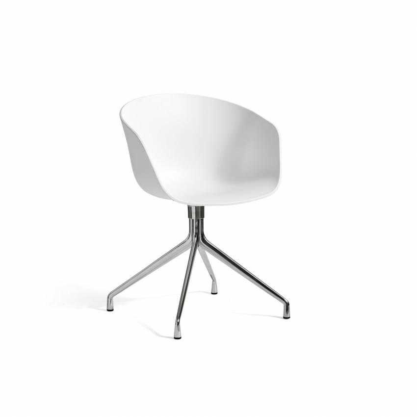 Chaise bureau AAC 20 blanc / pieds aluminium poli - HAY