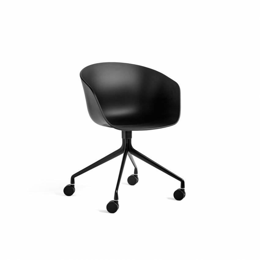 Chaise bureau à roulettes AAC 24 / Noir pieds noir - hay