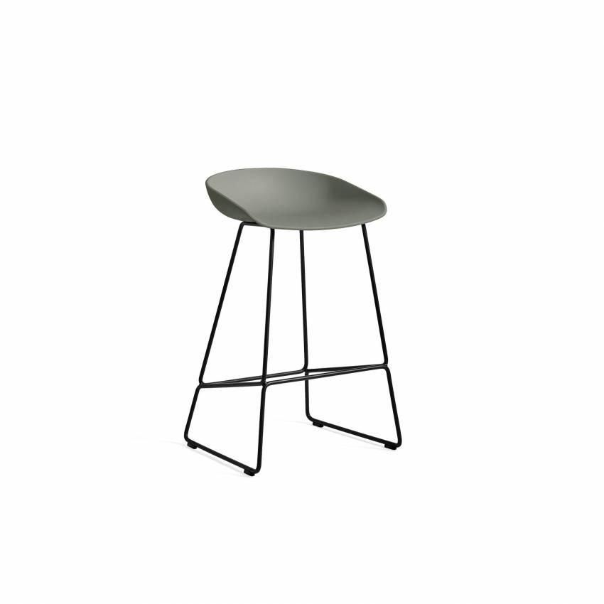 Hay / Tabouret AAS 38 / Vert dusty pieds noir / H 65 ou 75 cm