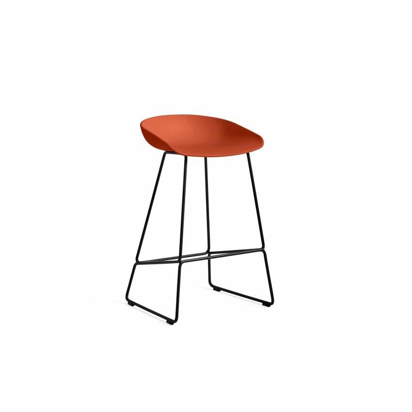 Hay / Tabouret AAS 38 / Orange pieds noir / H 65 ou 75 cm