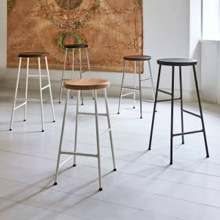 Tabouret Cornet Bar Stool / Chêne teinté noir / H 65 ou 75 cm