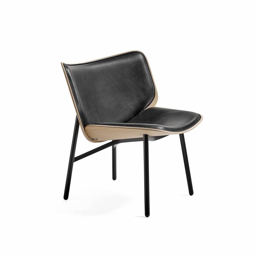 Hay / Chaise longue Dapper cuir noir / coque chêne mat / pieds noir