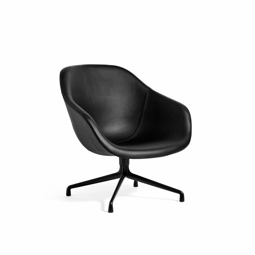 Hay / Chaise longue AAL81 cuir noir et pieds noir