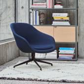 Fauteuil AAL81 / Tissu bleu / Pieds noir
