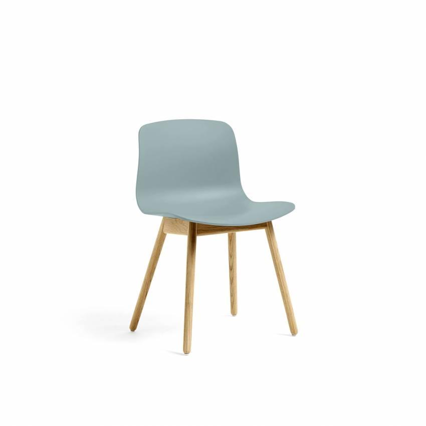 Chaise ABOUT A CHAIR AAC12 / Bleu dusty - Pieds chêne laqué