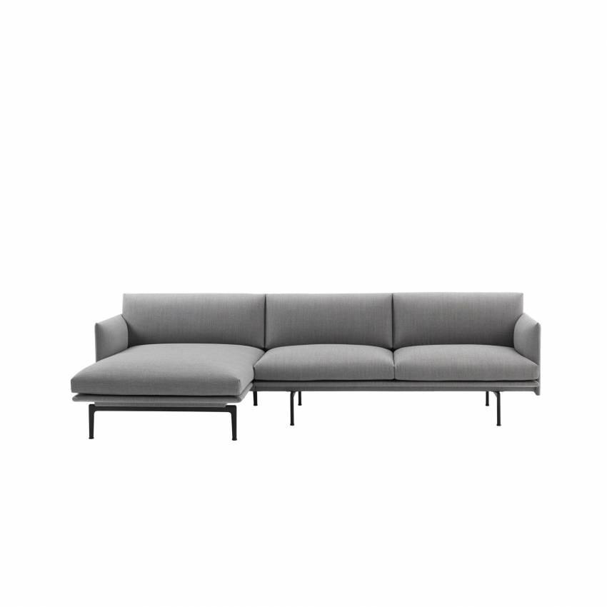 Canapé d'angle / OUTLINE SOFA / Tissu Kvadrat / Gris + 1 couleur