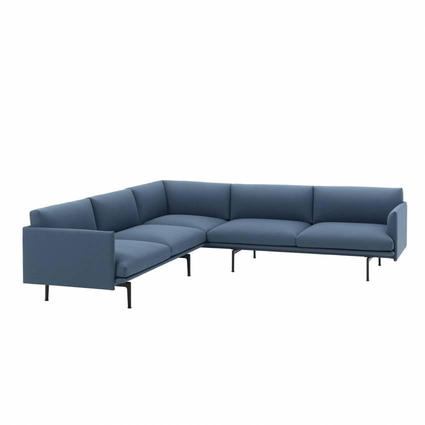 Canapé d'angle / OUTLINE SOFA CORNER / Tissu / Bleu + 1 couleur