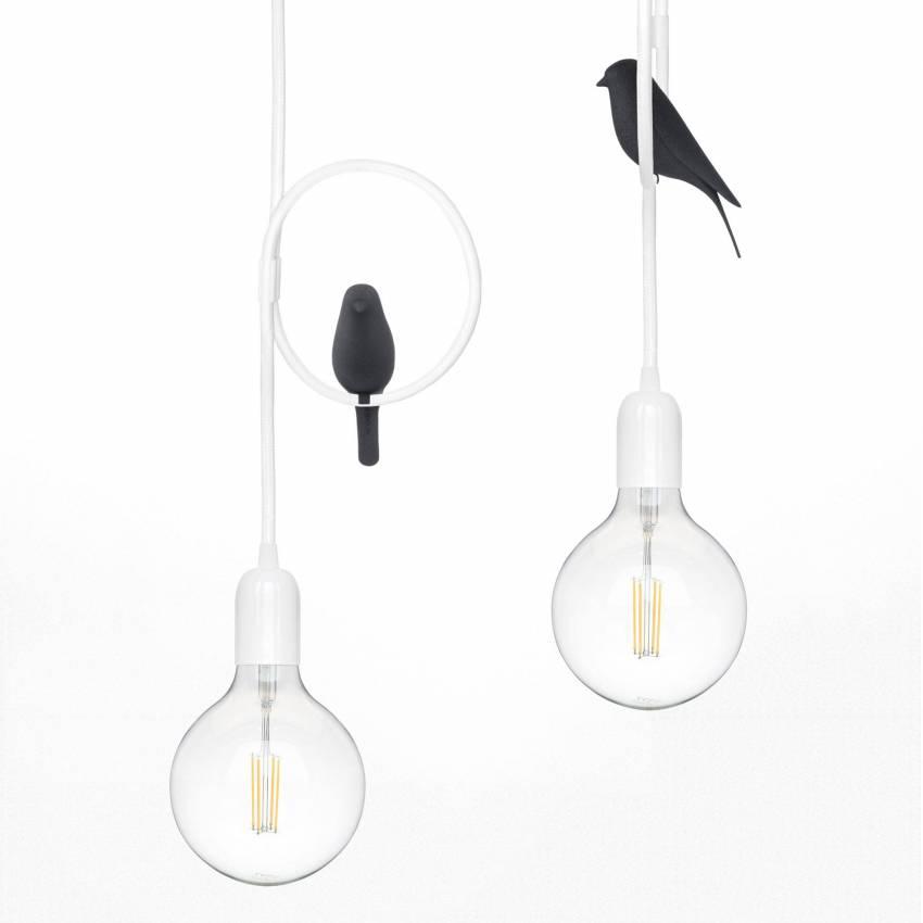 Suspension OKO LED oiseau Noir / Fil Blanc / Studio Macura