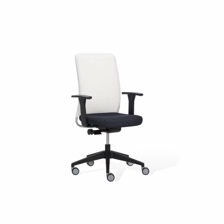 Chaise de bureau ONE / Blanc et noir / Avec accoudoirs