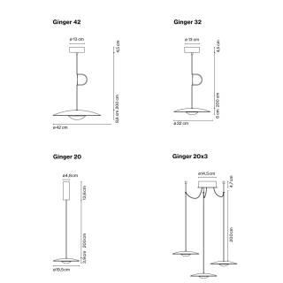 Suspension droite GINGER avec LED / Chêne Naturel / Marset