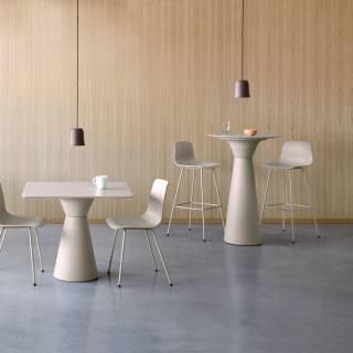 Table mange-debout ESSENS / Ø 70 cm / Anthracite et marbre noir
