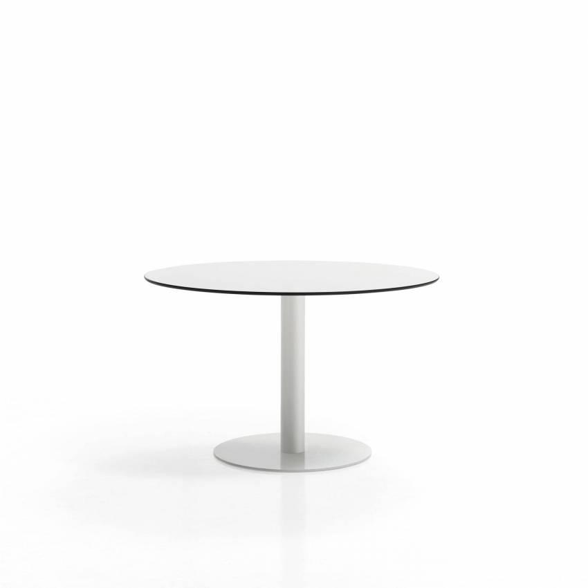 Table de restaurant FLAT / Ø 80 cm, H 72 cm et Ø sol 49 cm / Blanc