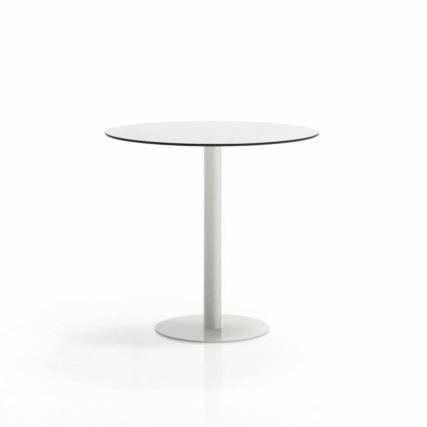 Table haute FLAT / Ø 80 cm, H 103 cm et Ø sol 49 cm / Blanc