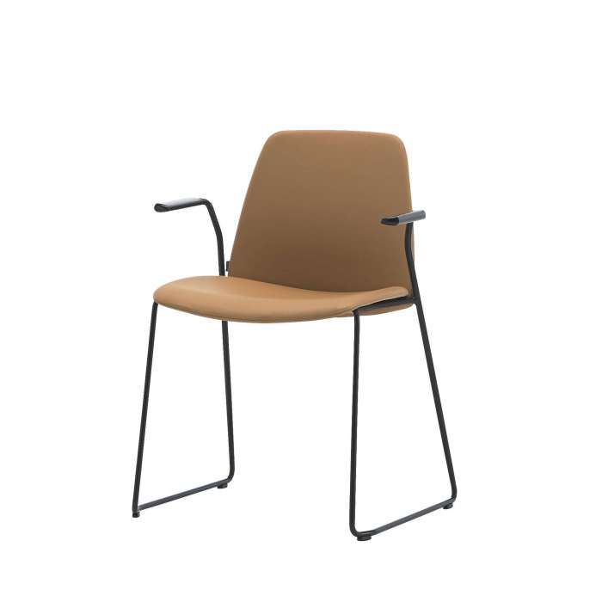 Chaise-bureau-accoudoir UNNIA-TAPIZ-cuir-pieds-luge