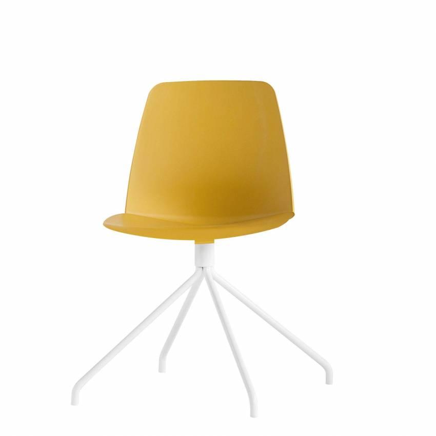 Chaise de bureau UNNIA jaune et pietement blanc