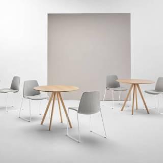 Table STICK / Ø 70 cm et H 75 cm / Gris foncé et chêne