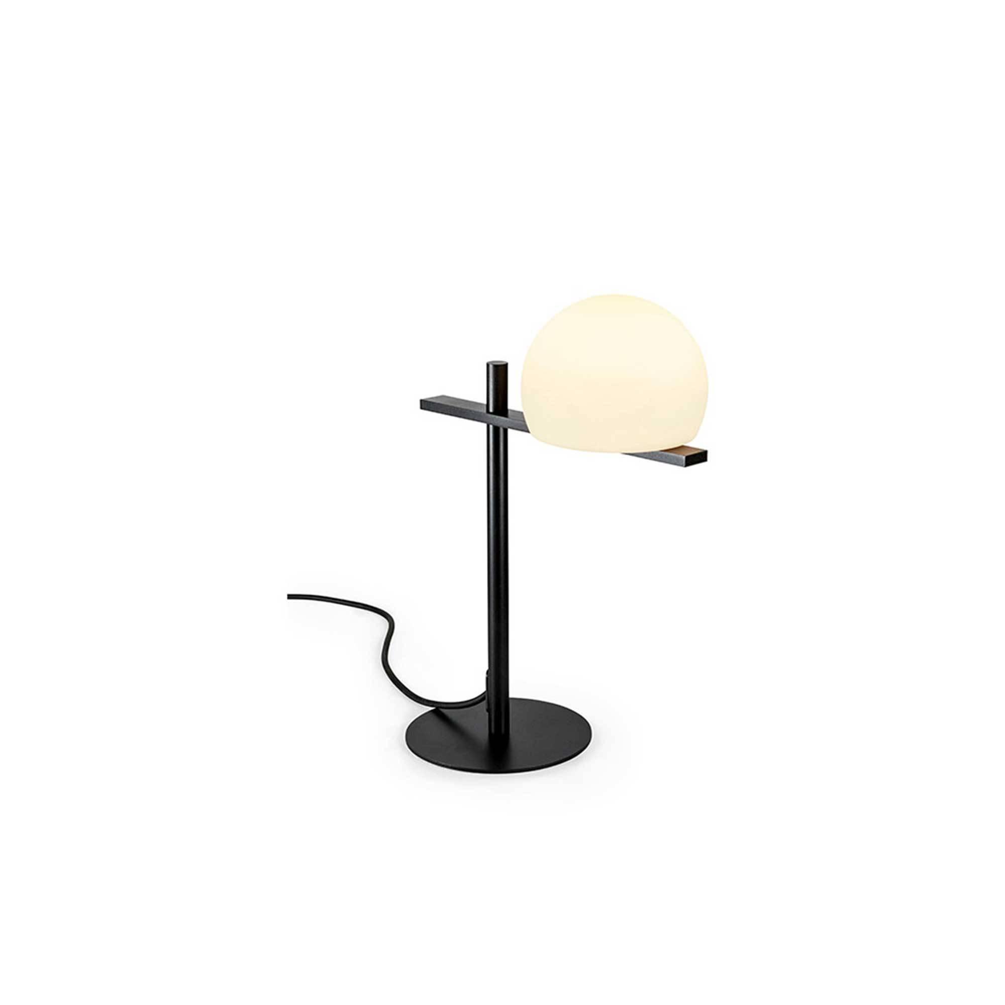 Lampe de table métal noir abat jour suspendu H 50 cm