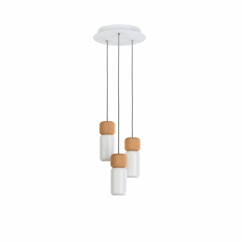 Estiluz / Suspension ronde PILA / 3, 7 ou 13 lampes / Liège et Blanc