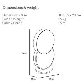 Lampe de chevet DUO / H. 31 cm / Noir