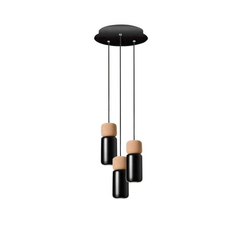 Estiluz / Suspension ronde PILA / 3, 7 ou 13 lampes / Liège et Noir