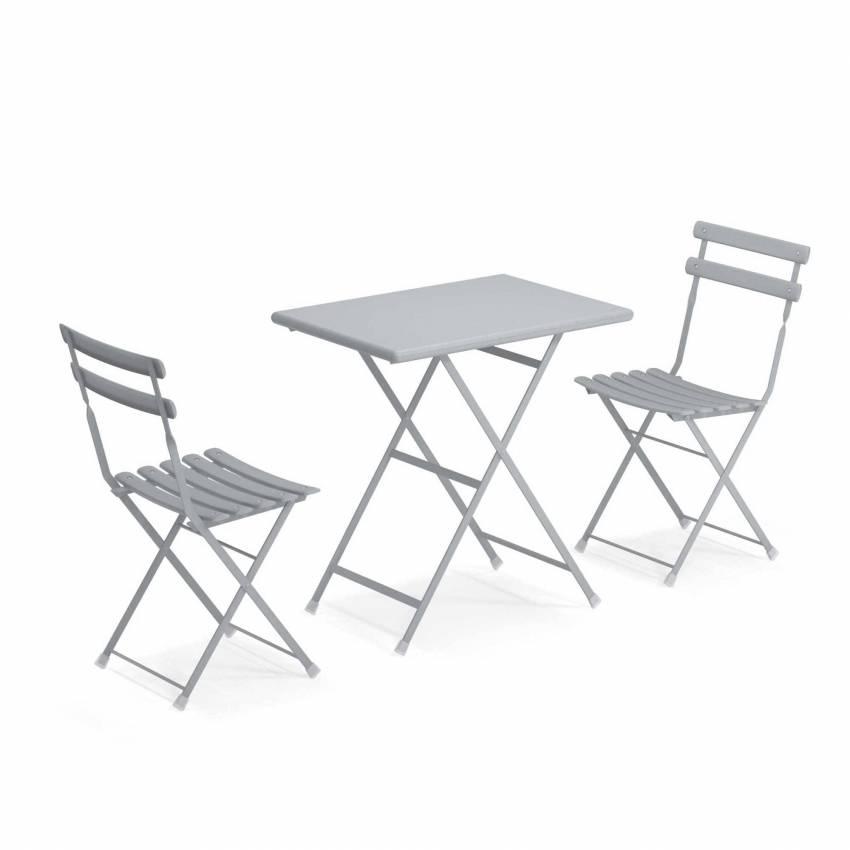 Composition : 1 Table et 2 Chaises de jardin ARC EN CIEL / Gris Nuage