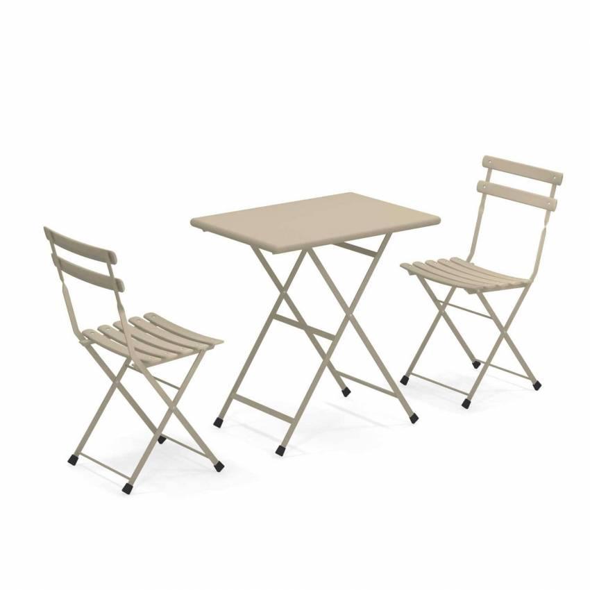 Composition : 1 Table et 2 Chaises de jardin ARC EN CIEL / Tourterelle