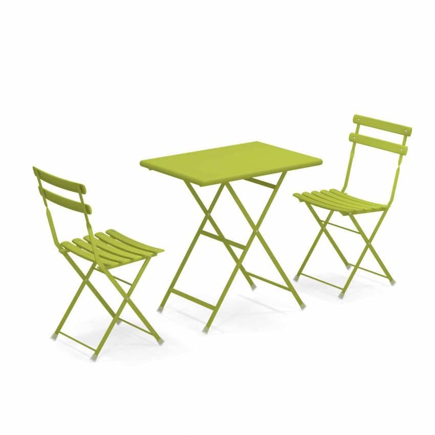 Composition : 1 Table et 2 Chaises de jardin ARC EN CIEL / vert