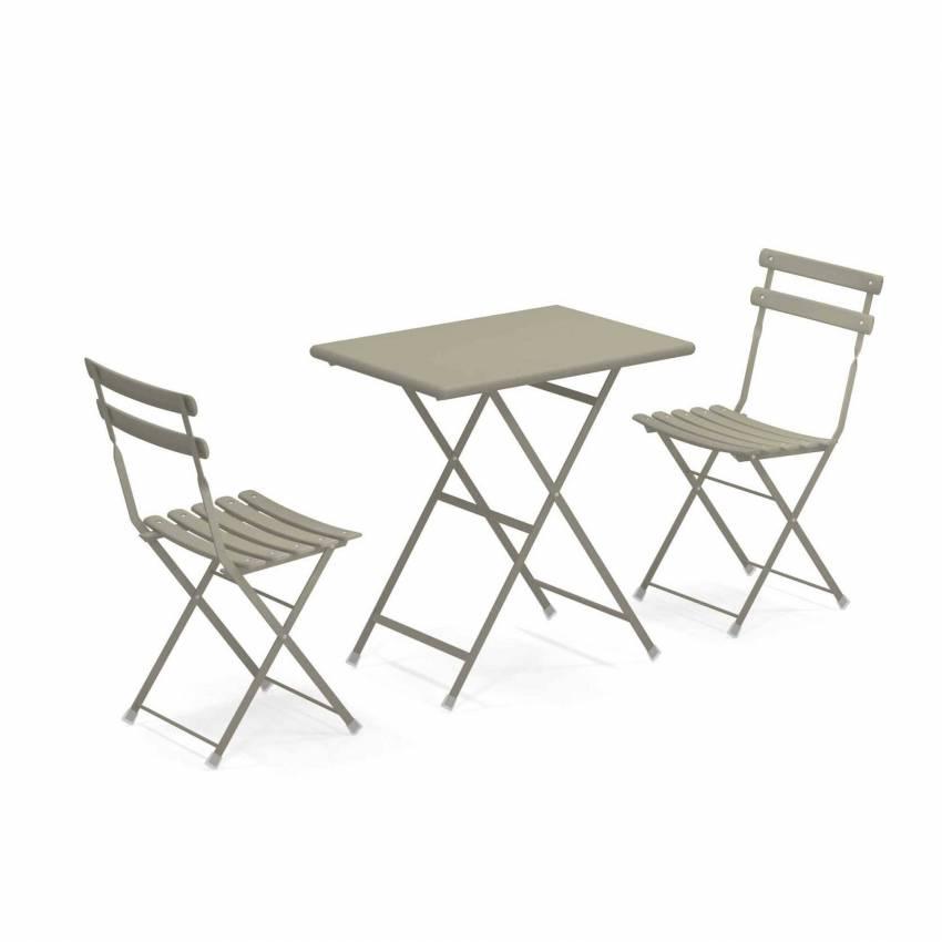 Composition : 1 Table et 2 Chaises de jardin ARC EN CIEL / Gris-Vert