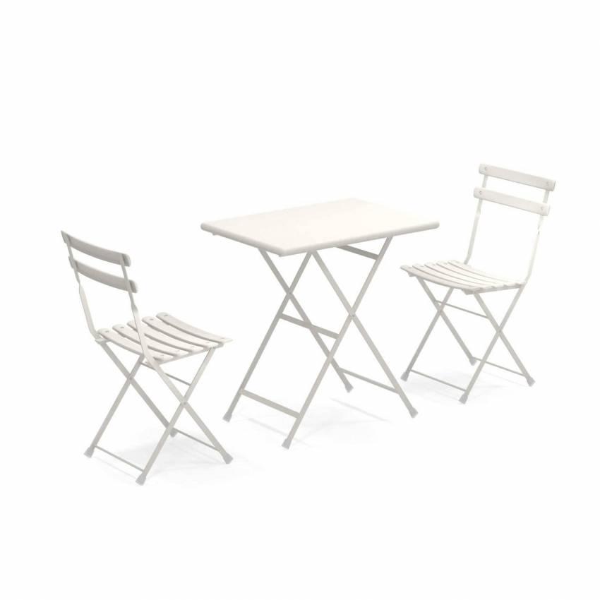 Composition : 1 Table et 2 Chaises de jardin ARC EN CIEL / Blanc