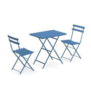 Composition : 1 Table et 2 Chaises de jardin ARC EN CIEL / Bleu