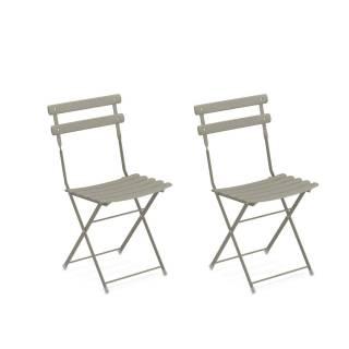 Lot de 2 chaises de jardin ARC EN CIEL / Gris-Vert