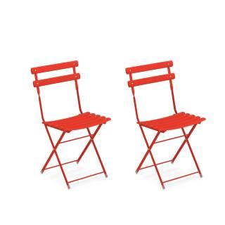 Lot de 2 chaises de jardin ARC EN CIEL / Rouge