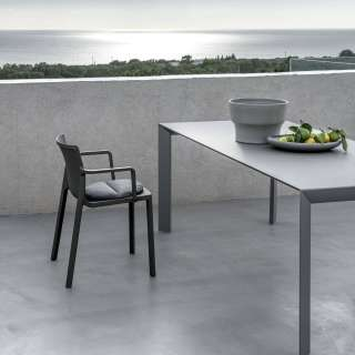 Chaise empilable avec accoudoirs LP gris - Kristalia