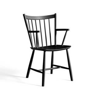 Chaise avec accoudoirs J42 / H. 87 cm / Hêtre / Noir