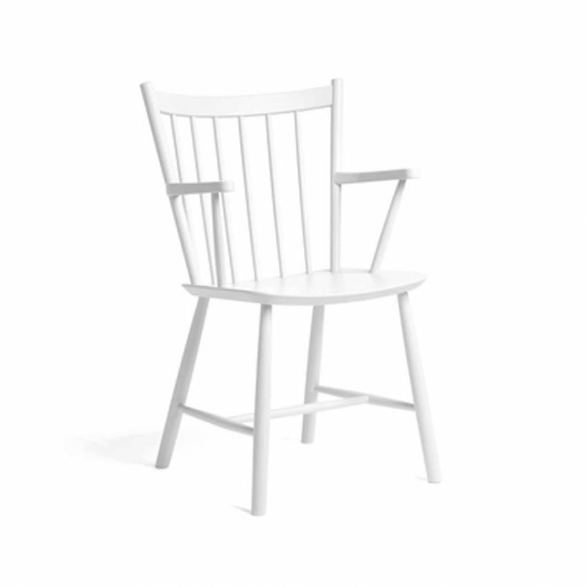 Chaise avec accoudoirs J42 / H. 87 cm / Hêtre / Blanc
