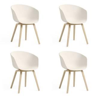 Lot de 4 chaises AAC 22 / Blanc-Crème / Pied Chêne