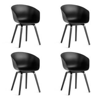 Lot de 4 chaises AAC 22 / Noir / Pied Noir