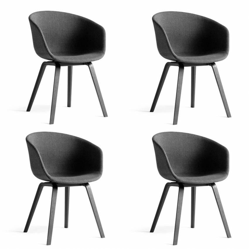 Lot de 4 chaises AAC 23 / Gris Foncé / Pied Noir