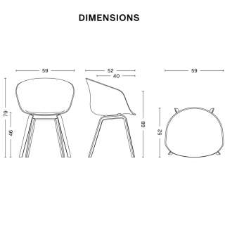 Lot de 4 chaises AAC 23 / Gris Clair / Pied Chêne