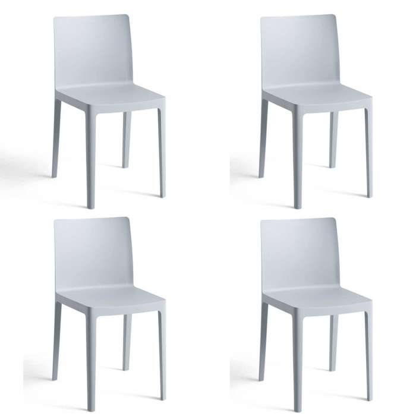 Lot de 4 chaises ELEMENTAIRE / Bleu-Gris