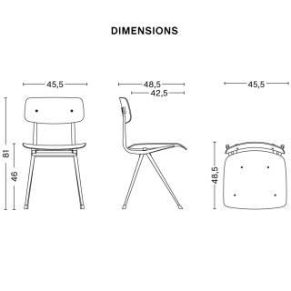 Lot de 4 chaises RESULT / Chêne Mat / Piètement Gris