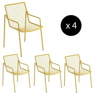 Lot de 4 fauteuils de jardin RIO / H. 83,5 cm / 5 coloris
