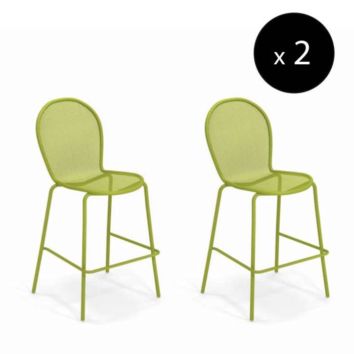 AMELIE - Lot de 2 tabourets empilables outdoor RONDA / H. 1,17 m / 4 coloris