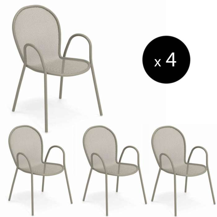 AMELIE - Lot de 4 fauteuils empilables outdoor RONDA / H. 82 cm / 4 coloris