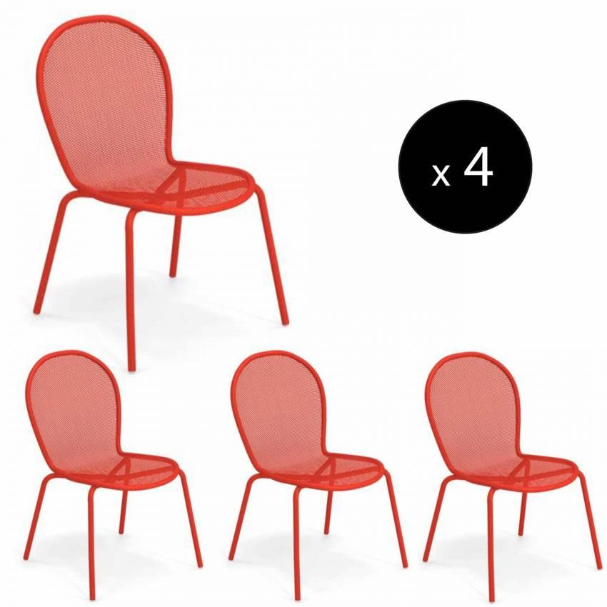 Lot de 4 chaises empilables outdoor RONDA / H. 85 cm / 4 coloris