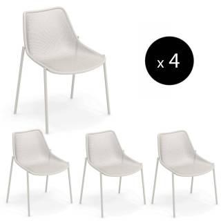 Lot de 4 chaises de jardin ROUND / H. 85 cm / 3 coloris