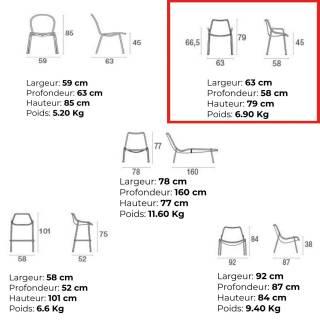 Lot de 4 fauteuils de jardin ROUND / H. 79 cm / 3 coloris
